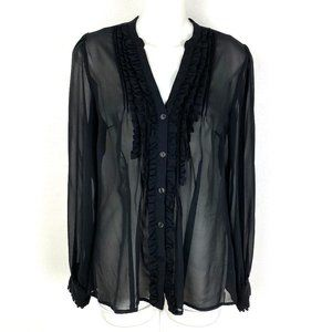 Worthingtop sheer romantic button front blouse top